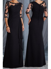 Elegant Illusion Bodice 3/4 Length Sleeves Lace Chiffon Long Mother of The Bride Dresses 907006