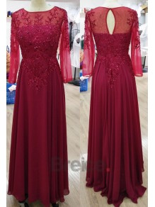 Long Sleeves Illusion Neckline Navy Lace and Chiffon Party Evening Mother of The Bride Dresses 5801018