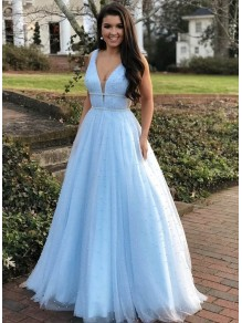 A-Line Beaded V-Neck Long Prom Dresses Formal Evening Gowns 995011000