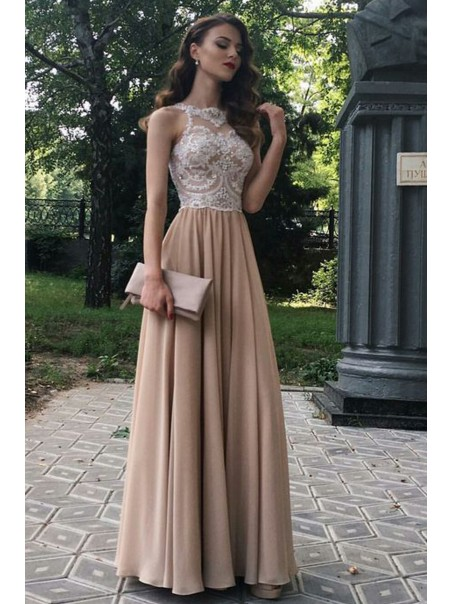 A-Line Beaded Lace Chiffon Long Prom Dresses Formal Evening Dresses 99501269
