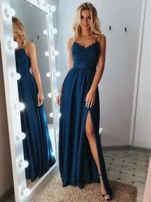 A-Line V-Neck Lace Long Prom Dresses Evening Gowns 99501378