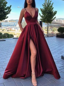 A-line Spaghetti Straps Side Slit Long Prom Dresses Evening Gowns 99501379