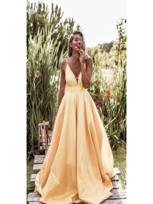 Sexy A-Line Spaghetti Straps V-neck Long Prom Dresses Formal Evening Gowns 99501380