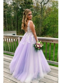 A-Line Lace Tulle V-Neck Long Prom Dresses Formal Evening Gowns 99501822