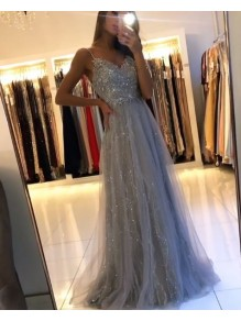 A-Line Beaded Lace Long Prom Dresses Formal Evening Gowns 99501935
