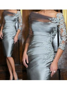 Affordable Short Silver Lace Off-the-Shoulder Mother of  The Bride Dresses 99503008