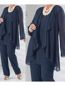 Elegant Chiffon Long Sleeves Plus Size Mother of the Bride Pant Suits Dresses 99503102