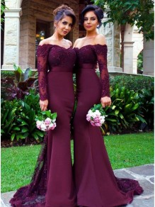 Long Sleeves Off-the-Shoulder Lace Purple Mermaid Wedding Party Dresses Bridesmaid Dresses 99601030