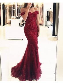 Mermaid Off-the-Shoulder Beaded Lace Appliques Long Prom Formal Evening Party Dresses 996021243