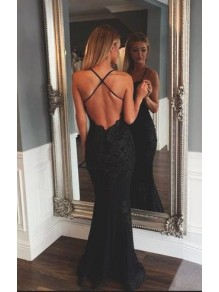 Sexy Long Black Lace Prom Formal Evening Party Dresses 996021372