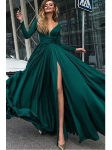 Sexy Deep V-Neck Prom Dress Long Sleeves Evening Gowns with Side Split 996021547