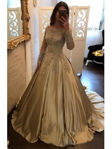 Long Sleeves Lace Ball Gown Prom Dresses Evening Gowns 996021592
