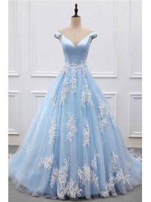 Ball Gown Lace Off-the-Shoulder Long Blue Prom Dresses Formal Evening Dresses 996021610