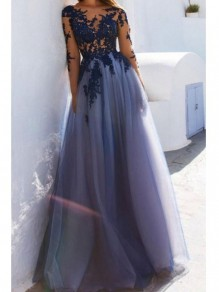 Lace Long Sleeves See Through Prom Dresses Formal Evening Dresses 996021704