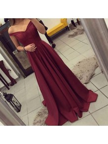 A-Line Off-the-Shoulder Long Burgundy Prom Dresses Party Evening Gowns 99602435