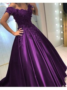 Ball Gown Off-the-Shoulder Purple Long Lace Prom Formal Evening Party Dresses 99602858