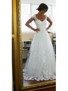 A-Line Cap Sleeves Lace Wedding Dresses Bridal Gowns 99603005