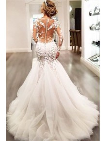 Long Sleeves Mermaid V-Neck Lace Wedding Dresses Bridal Gowns 99603021