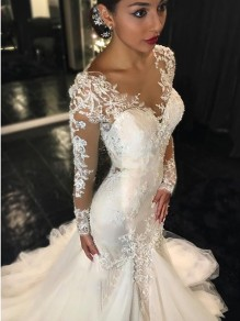 Mermaid Long Sleeves V-Neck Lace Wedding Dresses Bridal Gowns 99603027