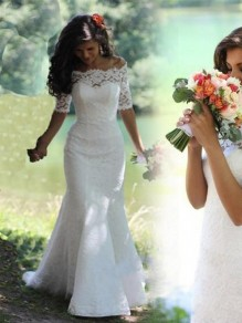 Lace Mermaid Off-the-Shoulder Short Sleeve Wedding Dresses Bridal Gowns 99603092