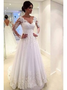 A-Line Long Sleeves Lace V-Neck Wedding Dresses Bridal Gowns 99603095