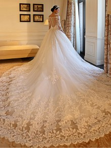3/4 Length Sleeves V-Neck Lace Wedding Dresses Bridal Gowns 99603109