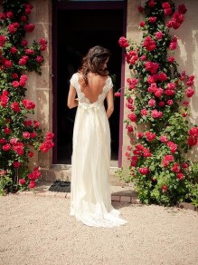 Empire Lace V-Neck Backless Wedding Dresses Bridal Gowns 99603133