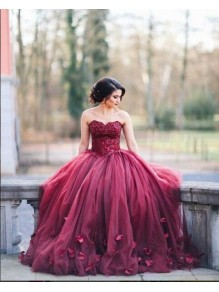 Lace Sweetheart Burgundy Wedding Dresses Bridal Gowns 99603227
