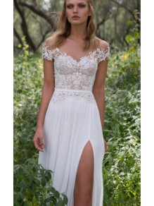 Lace Chiffon Off-the-Shoulder Wedding Dresses Bridal Gowns 99603276