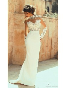 High Neck Beaded Long Sleeves Illusion Bodice Lace Wedding Dresses Bridal Gowns 99603327