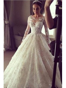 Long Sleeves Lace Wedding Dresses Bridal Gowns 99603330