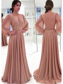 A-line Chiffon V-Neck Long Sleeves Lace Mother of The Bride Dresses 99605116