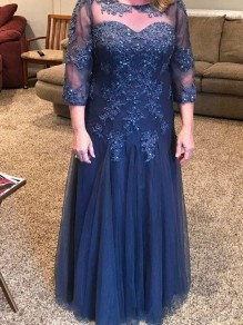 Lace 3/4 Length Sleeves Navy Blue Mother of the Bride Dresses 99702038